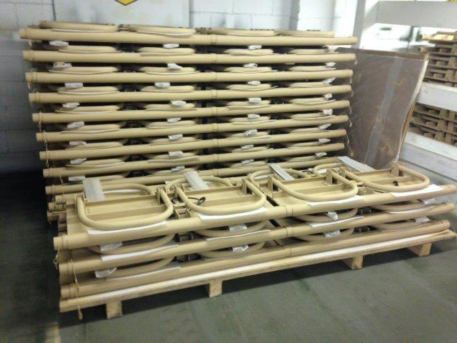Troop seating ready for inspection. SWP does offer many types of composite outdoor seating used for troop movement, stadiums, and high school bleachers.
