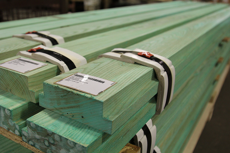 Green wooden slats produced by Stephan Wood Products in Grayling, MI.